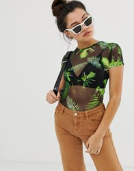 Daisy Street Fitted Top In Palm Print Mesh Green