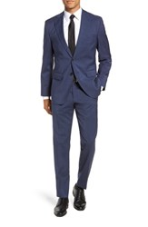 Boss Johnstons Lenon Classic Fit Houndstooth Wool Suit Blue