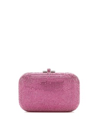 Judith Leiber Couture Crystal Slide Lock Clutch Bag Rose