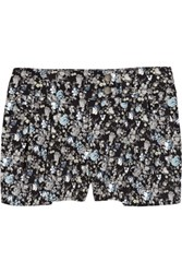 Preen Line Floral Print Stretch Denim Shorts