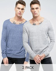 Asos Scoop Neck Jumper 2 Pack Denim And Grey Marl Multi
