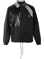 Adidas Originals By Alexander Wang Contrasting Panel Logo Jacket Unisex Cotton Nylon Polyester L Black