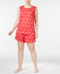 Charter Club Plus Size Tank Top And Boxer Shorts Printed Pajama Set Only At Macy's Palm Tree