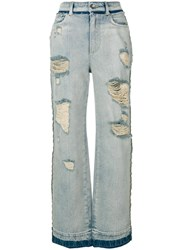Dolce And Gabbana Ripped Wide Leg Jeans Blue