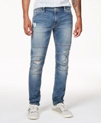 Guess Men's Slim Fit Tapered Stretch Destroyed Moto Jeans Trevor Wash