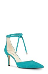 Nine West Women's Millenio Ankle Wrap Pump Dark Turquoise Suede