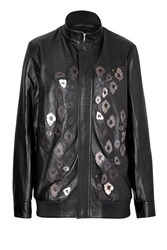 Anthony Vaccarello Embellished Leather Jacket Black