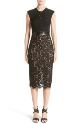Michael Kors Women's Leather Trim Jersey And Lace Sheath Dress