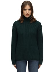 Tory Burch Wool And Cashmere Blend Knit Sweater Dark Green