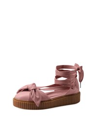 Fenty Puma By Rihanna Leather Bow Creeper Sandal Pink Silver Pink