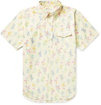 Engineered Garments Button Down Collar Floral Print Striped Cotton Shirt Yellow