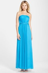 Js Boutique Embellished Chiffon Fit And Flare Gown Blue