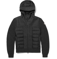 Moncler Hooded Wool And Shell Down Jacket Gray