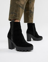Calvin Klein Serina Black Suede Chunky Chunky Heeled Chelsea Boots Black Suede