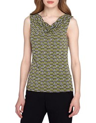 Tahari By Arthur S. Levine Chevron Fitted Jersey Knit Top Black White Multi