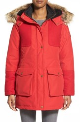 Women's Pendleton 'Juneau' Genuine Coyote Fur Trim Mixed Media Down Parka Red