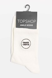 Topshop Embroidered Tough Cookie Socks White