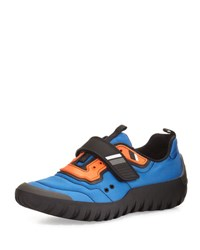 Prada Linea Rossa Colorblock Nylon Scuba Sneaker Blue Orange Blue Orange