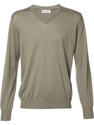 Brunello Cucinelli V Neck Sweatshirt Green