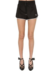 Off White Logo Nylon Sport Shorts Black