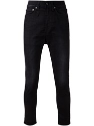 R 13 R13 Drop Crotch Skinny Jeans Black