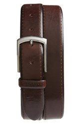 Ted Baker London Burnished Brogue Leather Belt Chocolate