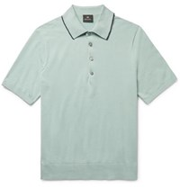 Paul Smith Ps By Contrast Tipped Knitted Cotton Polo Shirt Mint
