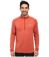 Columbia Tuk Mountain Half Zip Rust Red Heather Men's Long Sleeve Pullover Brown