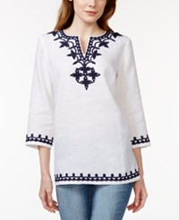 Charter Club Linen Embroidered Tunic Only At Macy's