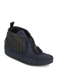 Rag And Bone Ghita Leather And Suede Fringed Moccasin Ankle Boots Navy