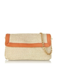 Buti Straw And Leather Clutch W Shoulder Strap Orange