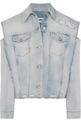Maison Martin Margiela Mm6 Convertible Distressed Denim Jacket Mid Denim