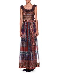 Etro Sleeveless Ruffle Neck Printed Top Purple Multi Purple Multi