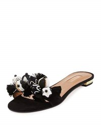 Aquazzura Tropicana Beaded Suede Slide Sandal Black
