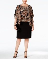 Connected Plus Size Animal Print Chiffon Overlay Dress Brown Black