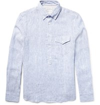 Brunello Cucinelli Slim Fit Button Down Collar Striped Linen Shirt Blue
