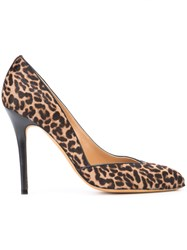 Alexa Wagner Leopard Print Pumps Women Leather Calf Hair 38 Brown