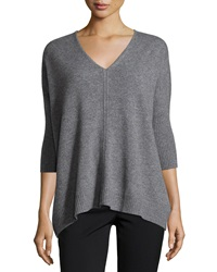 Christopher Fischer Cashmere Boxy 3 4 Sleeve V Neck Sweater Smog
