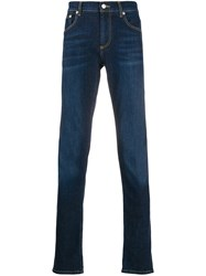Alexander Mcqueen Logo Embroidered Slim Fit Jeans Blue