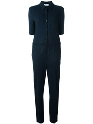 Sonia Rykiel Waist Drawstring Shortsleeved Jumpsuit Blue