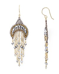 Miguel Ases Beaded Dangle Drop Earrings Silver