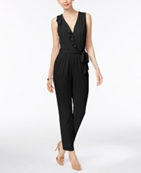 Ny Collection Petite Ruffled Surplice Jumpsuit Black