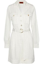 Missoni Woman Belted Crochet Knit Playsuit Off White Off White