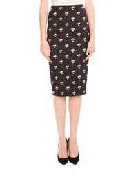 Victoria Beckham Daisy Jacquard Pencil Skirt Black White Gold Multi Pattern