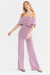 Oh My Love Emily Off The Shoulder Tiered Frill Jumpsuit Mauve