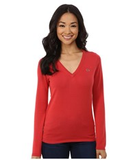 Lacoste Long Sleeve Cotton Double Overlay V Neck Sweater Goji Red Women's Long Sleeve Pullover