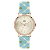 Orla Kiely Women's Floral Strap Leather Strap Watch Blue Cream