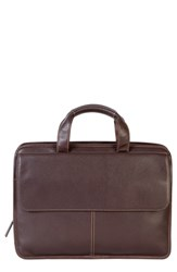 Boconi Tyler Leather Briefcase Brown Coffee