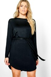 Boohoo Teresa Tie Waist Long Sleeve T Shirt Dress Black
