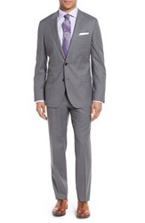 Boss Men's 'Huge Genius' Trim Fit Check Wool Suit Medium Grey